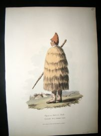 Spain 1809 Folio Hand Col Aquatint. Peasant in a Straw Coat